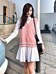 весенний костюм отдыха женская корейская мода шить свободно вязать v-образным вырезом рубашки жилет плиссированные шт прилив