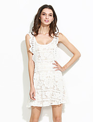 Women's Going out Sexy A Line Dress,Solid Halter Mini Sleeveless White / Black Others Summer
