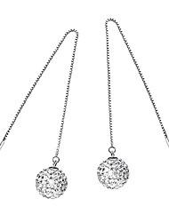925 Sterling Silver Earrings AAA Zircon Ball Long Drop Earrings Jewelry
