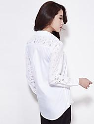 White shirt thin female models spring new long-sleeved white cotton shirt female Korean Fan preppy blouses
