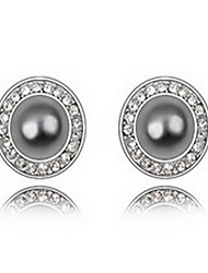 Stud Earrings Pearl Pearl Alloy Natural Jewelry White Black Dark Blue Gray Copper Jewelry Daily 1 pair