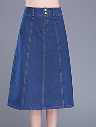 Plus Size A Line Solid Denim Skirts,Going out Casual/Daily Simple Cute High Rise Midi Zipper Button Others Micro-elastic Summer