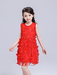 Girl's Beach Solid Floral Dress,Cotton Polyester Summer Sleeveless