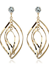 Diamond Crystal Stud Earrings Drop Earrings Jewelry Women Wedding Party Zircon Silver Plated Gold Plated 1 pair Gold Silver