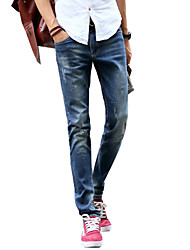 Men's Slim Jeans PantsCasual/Daily Simple Solid Mid Rise Button Cotton Polyester Micro-elastic All Seasons MG-Y603