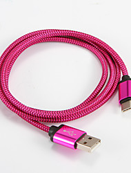 USB 2.0 Type C Aluminum Portable Cable For Samsung Huawei Sony Nokia HTC Motorola LG Lenovo Xiaomi 1m