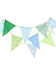3.6m 12Flags Blue And Green Flower Pattern Banner Pennant  Cotton Bunting Banner Booth Props Photobooth Birthday Wedding Party Decoration