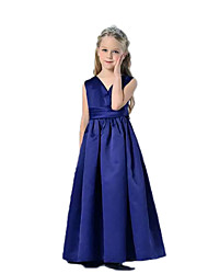 A-line Floor-length Flower Girl Dress - Satin V-neck with Ruching
