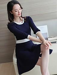 2017 spring models long-sleeved knit dress Slim bow
