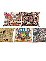 Set of 5Creative skull  Linen Pillow Case Bedroom Euro Pillow Covers 18x18 inches  Cushion cover