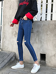 Sign in spring 2017 Slim thin irregular burr hole jeans trousers pencil pants female