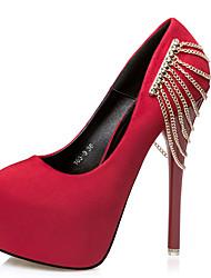 Damen-High Heels-Kleid-Vlies-StöckelabsatzSchwarz Rot