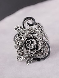 Ring Silver Plated Alloy Flower Flower Style Personalized Euramerican Statement Jewelry Fashion Silver Jewelry Daily Casual 1pc