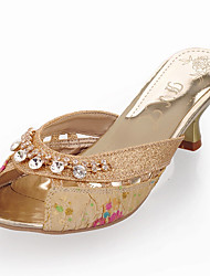 Women's Slippers & Flip-Flops Spring Summer Fall Synthetic Dress Casual Chunky Heel Rhinestone Gold Blue