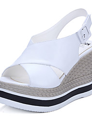 Damen-Sandalen-Büro Kleid Lässig-Leder-Keilabsatz-Andere-Schwarz Weiß