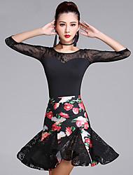 Latin Dance Outfits Women's Performance Lace Milk Fiber Pattern/Print 2 Pieces 3/4 Length Sleeve High Top Skirt