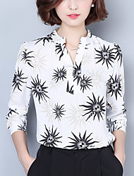 Women's Going out Work Street chic Spring /Fall Loose Blouse Print V Neck Long Sleeve White /Black Polyester Medium