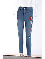 Women's Slim Jeans Pants,Casual/Daily Simple Solid Low Rise Button Others Micro-elastic Spring Summer