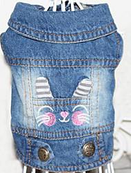 Chien Vestes en Jean Bleu Vêtements pour Chien Printemps/Automne Couleur Pleine Mignon cow-boy Décontracté / Quotidien