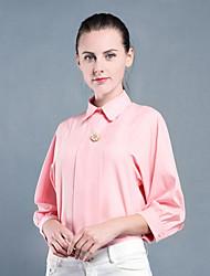 Feminino Blusa Formal Trabalho Fofo Sofisticado Verão,Sólido Floral Rosa Branco Linho Colarinho de Camisa Manga ¾ Fina