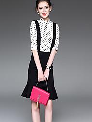 Damen Punkte Einfach Lässig/Alltäglich Shirt Rock Anzüge,Hemdkragen Riemengurte Sommer ½ Ärmellänge Polyester Standard