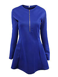 Women's Casual/Daily Street chic Sheath Dress,Solid Round Neck Above Knee Long Sleeve Blue Red White Black Polyester Spring Fall Mid Rise