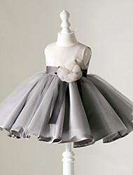 Robe de Soirée Courte / Mini Robe de Demoiselle d'Honneur Fille - Organza Sans Manches Bijoux avec Fleur(s)