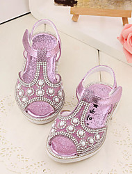 Baby Flats Summer First Walkers Patent Leather Outdoor Casual Low Heel Rhinestone Magic Tape Gold Light Purple Walking