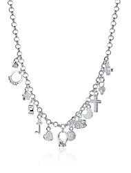 Women's Pendant Necklaces Chain Necklaces Jewelry Copper Silver Plated Cross GeometricUnique Design Dangling Style Pendant Love Geometric