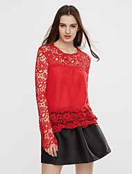 Women's Casual Plus Size Solid Elegant Lace Blouse ,Top Quality Round Neck Long Sleeve T Shirt
