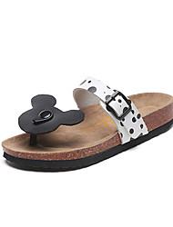 Mujer-Tacón Plano-Confort-Zapatillas y flip-flop-Vestido Informal-PU-Negro Rosa Blanco
