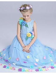 Ball Gown Floor-length Flower Girl Dress - Organza Jewel with Flower(s)