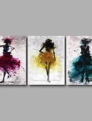 Estampados de Lonas Esticada Abstrato Floral/Botânico Moderno,3 Painéis Tela Horizontal Impressão artística Decoração de Parede For