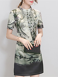 Spring Fashion 1/2 Sleeves Retro Printing Stand Up Elegant Slim Was Thin Dress Dating Home Must Party Dresses
