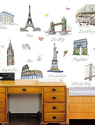 Cartoon Famous Buildings Wall Sticker Vinyl Material Home Decoration