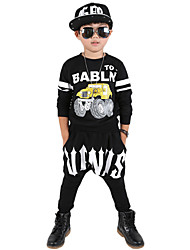 Boy's Going out Casual/Daily School Print Sets Cotton Spring/Fall Long Sleeve Blouse Pants 2 Piece Clothing Set Children's Garments Black