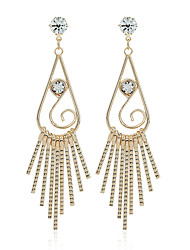 Diamond Dangle Earrings Jewelry Party Casual Zircon Silver Plated Gold Plated 1 pair Silver