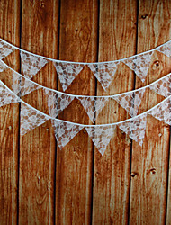 3.9m 15 Flags White Flower Banner Pennant Lace Bunting Banner Booth Props Photobooth Birthday Wedding Party Decoration