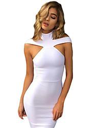 Women's White Triangle Cutout Bandage Dress