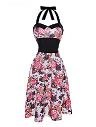 Women's Casual/Daily Vintage Swing Dress,Floral Halter Midi Sleeveless Blue White Black Cotton Polyester Summer Mid Rise Micro-elastic