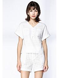 На каждый день Пружинный лето Рубашка Брюки Костюмы V-образный вырез,просто Однотонный Короткие,Полиэстер