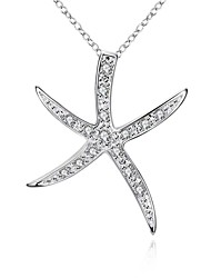 Women's Pendant Necklaces Chain Necklaces AAA Cubic Zirconia Star Zircon Copper Silver Plated Unique Design Dangling Style Rhinestone