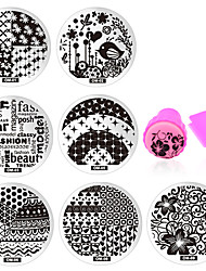 10pcs Nail Art Stencils Stamping Template Polish Print Nail Image Plate Stamper Scraper Set DIY Manicure Tools
