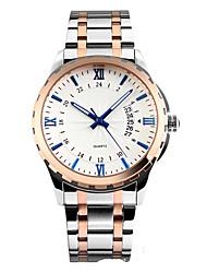 Men's Dress Watch Quartz Stainless Steel Band Silver Brand