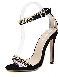 sandálias clube de verão sapatos cadeia pu stiletto vestido de calcanhar