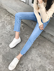 Sign spring new jeans female trousers straight jeans Korean version of the light flash irregular nine feet