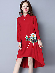 Women's Casual/Daily Loose Dress,Floral Round Neck Midi Long Sleeve Silk Spring Mid Rise Micro-elastic Thin