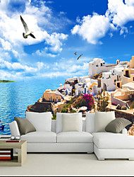 Art Deco Wallpaper For Home Wall Covering Canvas Adhesive Required Mural Seaside City Blue Sky Seagull XXXL(448*280cm)