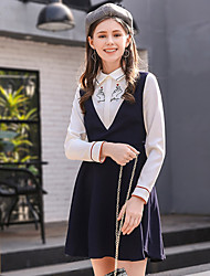 Women's Going out Cute Skater Dress,Solid Shirt Collar Above Knee Long Sleeve Polyester Fall High Rise Micro-elastic Medium