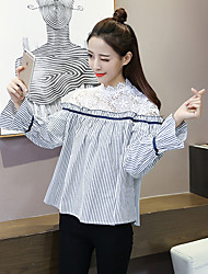 ponto sinal 2017 Primavera nova vantagem onda camisa costura rendas camisa listrada falso de duas verticais